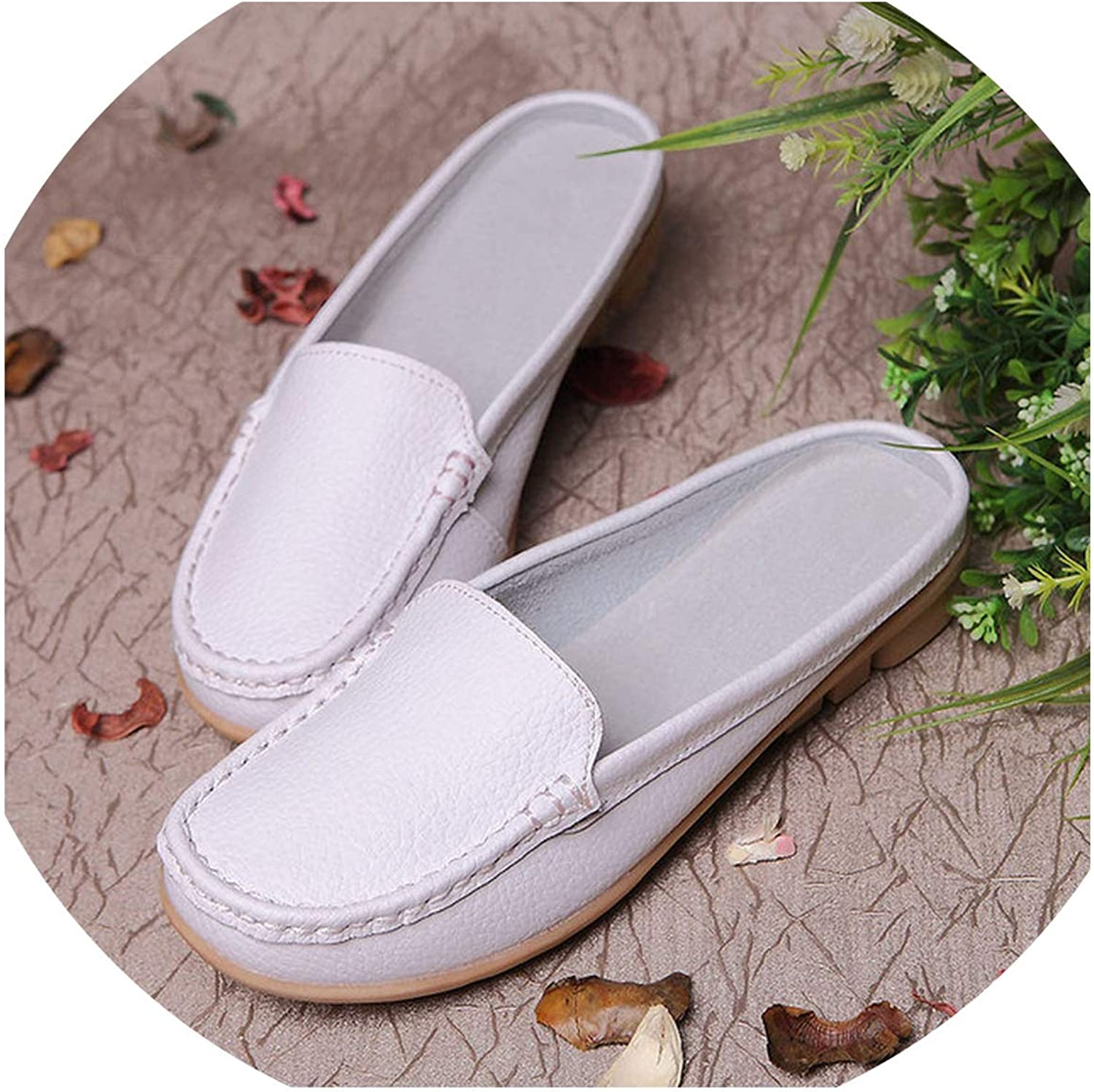 JIESENGTOO Casual Genuine Leather Moccasins Ladies Driving Ballet shoes Loafers Flats Mother Footwear