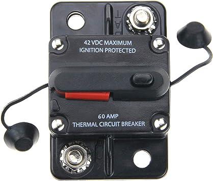 Boat Marine 60 Amp Surface Mount Circuit Breaker Type III W// Manual Reset Lever