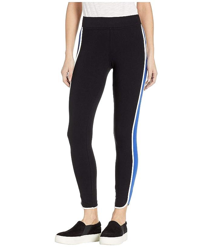 HUE Racer Stripe Cotton Leggings (Black) Women
