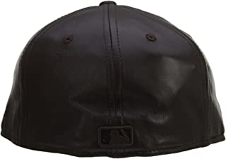 New Era 2 Tone Leather New York Yankee 59 Fifty Fitted Hat Style: YANKEE18-Brwn/Blk Size: 7 3/4 Brown/Black
