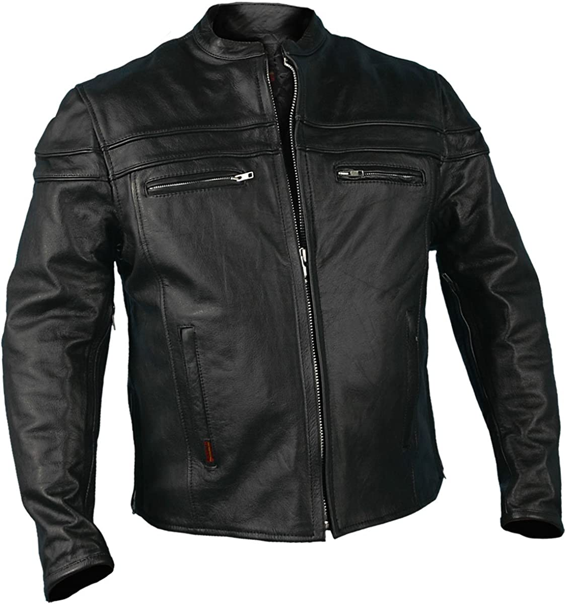 Hot Leathers Black Leather Men's Jacket with Double Piping