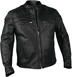 Hot Leathers Men's Heavyweight Jacket with Double Piping (Black, XXX-Large)