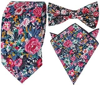 Herren Krawatte Fliegen Einstecktuch schmal Blumen Baumwolle für Business Hochzeit Party Set