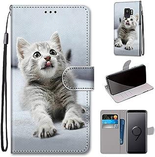 i Case für Samsung S9 Hülle Kind Handytasche Gemalt Süß Flip Brieftasche Kartenhalter Magnetschnalle Ständer Stoßfest Kratzfest Stoßstange Handyhülle Hülle für Galaxy S9,Nettes graues Kätzchen