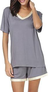 Sponsored Ad - Invug Women Nightwear Short Sleeve Shirt and Shorts Pajama Set V Neck Sleepwear