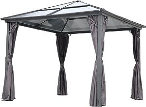 Angel Living Aluminium Tonnelle à Toit dur 3x3m Pavillon de Jardin avec 4 Tissu de polyester (Marron)