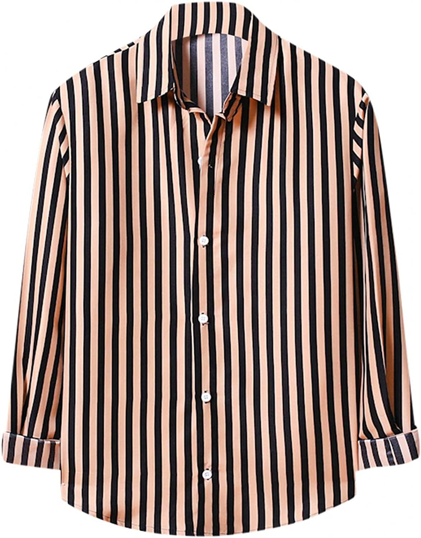 LEIYAN Mens Checkered Button Down Shirts Casual Long Sleeve Slim Fit Striped Yoga Beach Hippie Tops