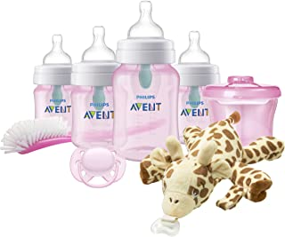 Philips Avent Anti-Colic Baby Bottle with AirFree Vent Newborn Gift Set with Snuggle, Pink,...