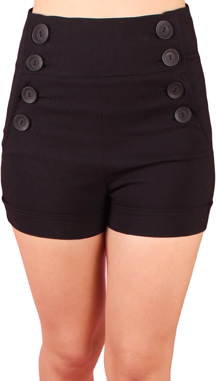 Sidecca Retro Nautical Sailor Large 8 Button High Waist Cuffed Shorts