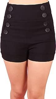 Retro Nautical Sailor Large 8 Button High Waist Cuffed Shorts