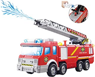 Top Race Fire Engine Truck with Water Pump Spray, Extending Rescue Ladder, and Flashing..