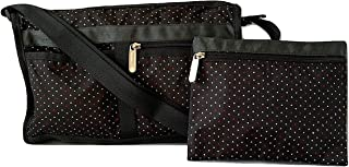 Poppy Seeds Deluxe Shoulder Satchel Crossbody Bag + Cosmetic Bag, Style 7519/Color E130
