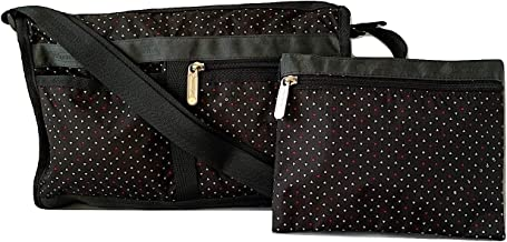 LeSportsac Poppy Seeds Deluxe Shoulder Satchel Crossbody Bag + Cosmetic Bag, Style 7519/Color E130