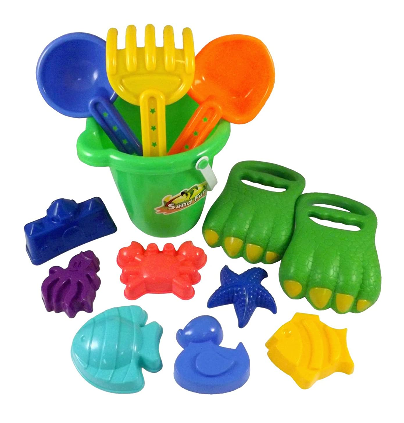 Liberty Imports Dinosaur Sand Digger Scoop Claw Beach Toy Set - 13 Piece with Bucket, Shovels, Rakes, Molds (Assorted Colors)