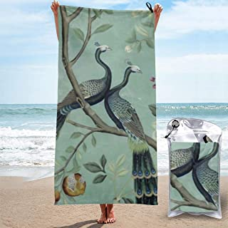 "ANYA TOPSHOP Ultra Soft Beach Towel Teal of Two Birds Japanese Style Beautiful Peacock Drawing Bath Towel with Bag, Microfiber Throw Towel Fast Dry Portable Thin Shower Towel for Swim 31.5""X63"""