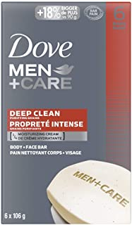 Dove Men+Care Body and Face Bar for Healthy and Strong Skin Deep Clean ¼ Moisturizing Cream 106 g Pack of 6