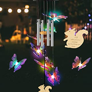 DULLA Solar Wind Chimes for Outside, Butterfly Memorial Wind Chimes Deep Tone, Windchimes Outdoors Unique Clearance, Color...