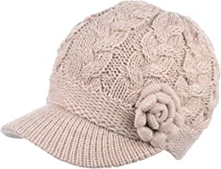 Womens Winter Elegant Cable Flower Knitted Newsboy Cabbie Cap Beret Beanie Hat with Visor, Warm Plush Fleece Lined