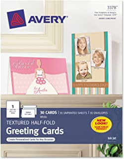 Avery 3378 Inkjet Greeting Cards, Textured, 5-1/2-Inch x8-1/2-Inch, 30/BX, WE