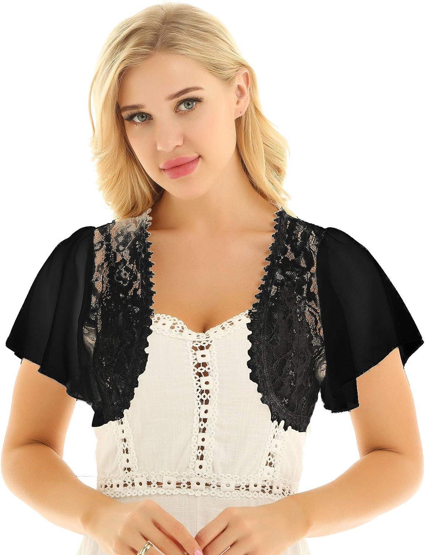 inhzoy Womens Short Bell Sleeve Floral Lace Chiffon Open Front Bolero Shrug Shawl Cardigan Top