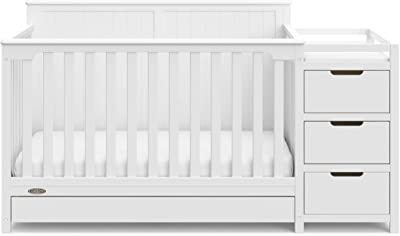 Graco Hadley 4 in 1 Convertible Crib Changer (White) Easily Converts to Toddler Bed Day or Full Bed, Three Position Adjustable Height Mattress (Mattress Not Included)