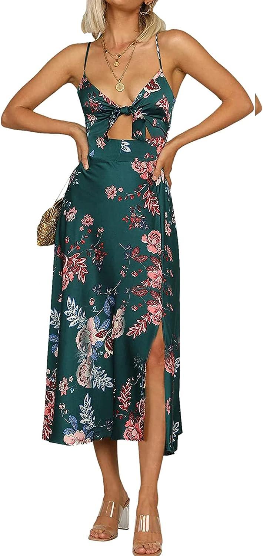 Women Spaghetti Strap Midi Satin Dresses Tie Front Backless Split Hollow Dress