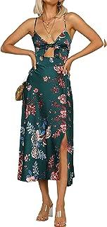 Women Spaghetti Strap Midi Satin Dresses Tie Front...