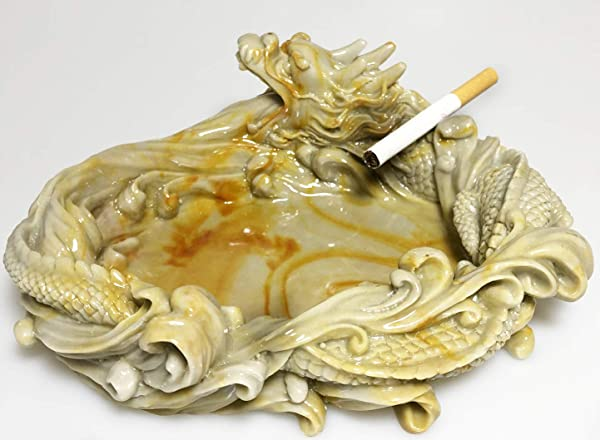 TATA Ashtray Windproof Decorative Cigarette Resin Ashtray With Creative Chinese Dragon Style For Home Office Outdoor Earthy Yellow