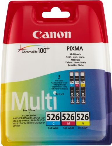 Canon Tintenpatrone CLI-526 C/M/Y Multipack - 9 ml für PIXMA Drucker (cyan magenta gelb) ORIGINAL