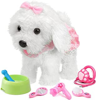 OR OR TU Remote Control Electronic Plush Puppy Toy Pet for Girls Kids Interactive Toys,Walks,Barks,Shake Tail,Pretend Dres...