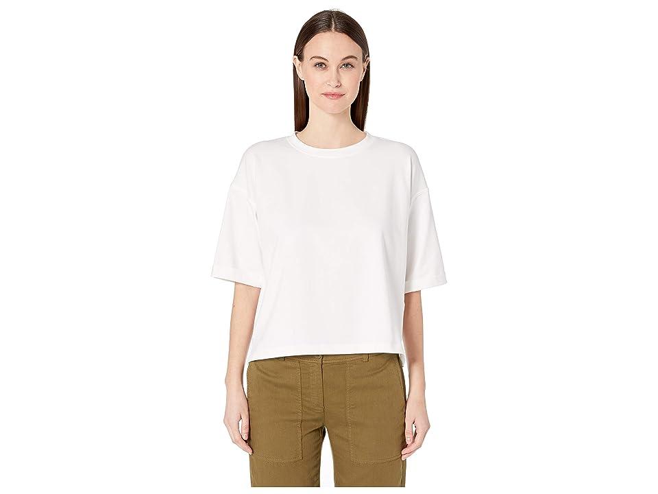 Eileen Fisher Organic Cotton Stretch Round Neck Elbow Sleeve Top (White) Women