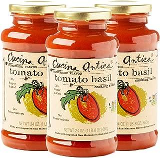 Cucina Antica - Tomato Basil Pasta Sauce - 24 Ounce,3 Count - Non GMO, Whole 30 Approved, Gluten Free