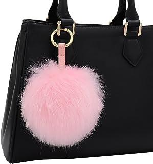 8a1274549862 Aiphamy Faux Fur Pom Pom Keychain Purse Bag Charm Fluffy Ball Key Chain for  Women