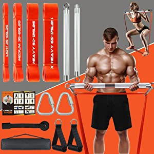 Portable Extra Heavy Home Gym Resistance Band Bar Set with 4 Stackable Resistance Bands,Detachable Full Body Workout Equipment Exercise Bar Kit,500LBS 75cm Longer Bar With Bands,Workout Guide Included