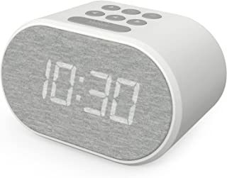 Alarm Clock Bedside Non Ticking LED Backlit Alarm Clock with USB Charger & FM Radio, 5 Step Dimmable Display - Mains Power...