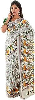SareesofBengal Women's Kantha Silk Saree with Blouse Piece (K005, Multicolour, Free Size)