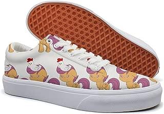 KKLDFD Chicken Horse Games Online Running Canvas Low-top Skateboarding Shoes ForMen Customize White