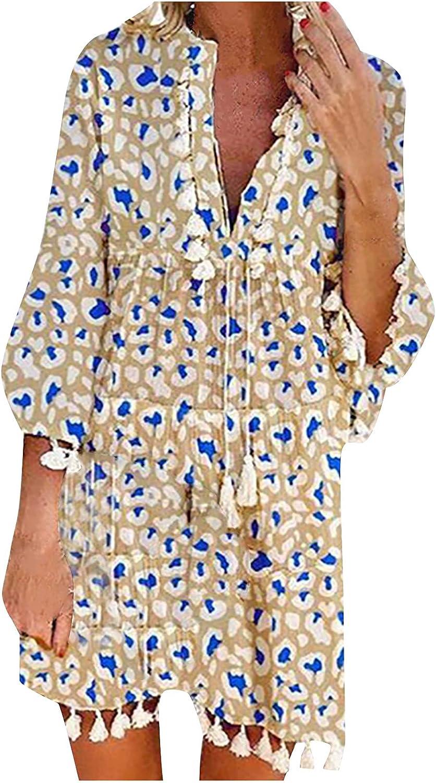GOODTRADE8 Autumn Skirt Women's V-Neck Printing Leopard Loose Casual Fashion Short Sleeve Dress Cocktail Dresses