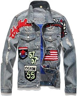 veste en jeans avec des insignes homme blanche