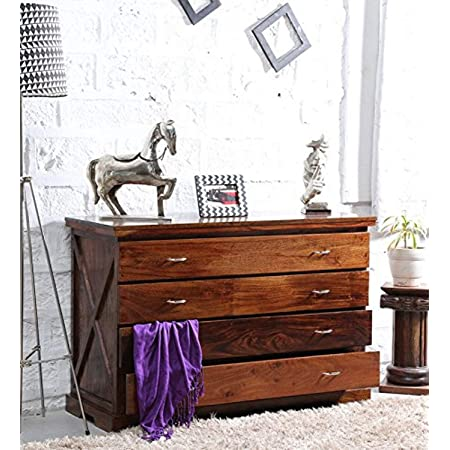 shagun arts wooden standard chest of drawer for bed room   wooden standard storege furniture with 4 drawers   solid wood, brown finish
