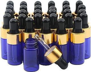 Ellbest 30pcs 3ml Mini Dropper Bottles, Blue Essential Oil Glass Bottle Empty Lotion Bottle Reusable Refillable Perfume Sample Bottle Makeup Glass Vials (Black Cap)