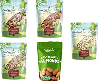 Organic Energy Nuts in a Gift Box - A Variety Pack of Pecans, Brazil Nuts, Cashews, Walnuts and Almonds