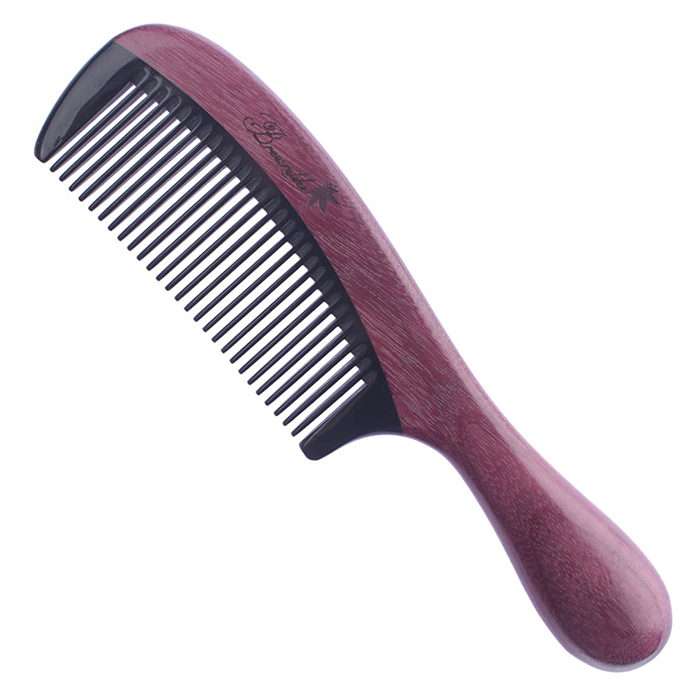 Breezelike Purpleheart Wood Hair Comb - No Static Wooden Comb with Black Buffalo Horn Teeth