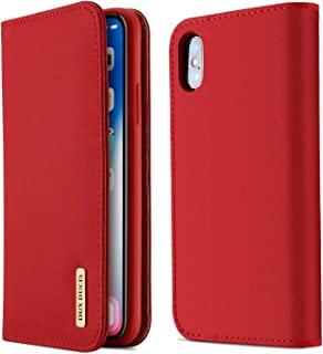 iPhoneX Case Dermal Cell Phone Protector Case Magnetized Closure Card Slots Money Pouch,Leather Flip Wallet Phone Case Red