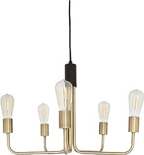 Rivet Mid-Century Modern Theory 5-Arm Ceiling Pendant Chandelier with Edison Light Bulbs, 14.5