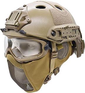 کلاه ایمنی تاکتیکی سریع با محافظ گوش تاشو نیمه ماسک مش ایرسافت و عینک تاکتیکی مخصوص تیراندازی در فضای باز