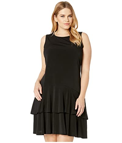 MICHAEL Michael Kors Plus Size Solid Sleeveless Flounce Dress (Black) Women