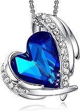 CDE Love Heart Pendant Necklaces for Women Silver Tone...