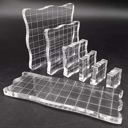 7 Pièces Tampon Encreur Acrylique, Blocs de Tampons en Acrylique Transparent Avec Lignes Quadrillées, pour Production D'artisanat D'album, la Décoration de Conception de Bricolage