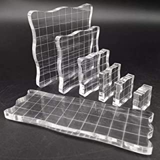 7 Pièces Tampon Encreur Acrylique, Blocs de Tampons en Acrylique Transparent Avec Lignes Quadrillées, pour Production D'ar...